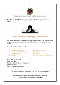 "Maureen Griffin -Forensic Psychologist: ""Social Media: Challenges for Parents""."